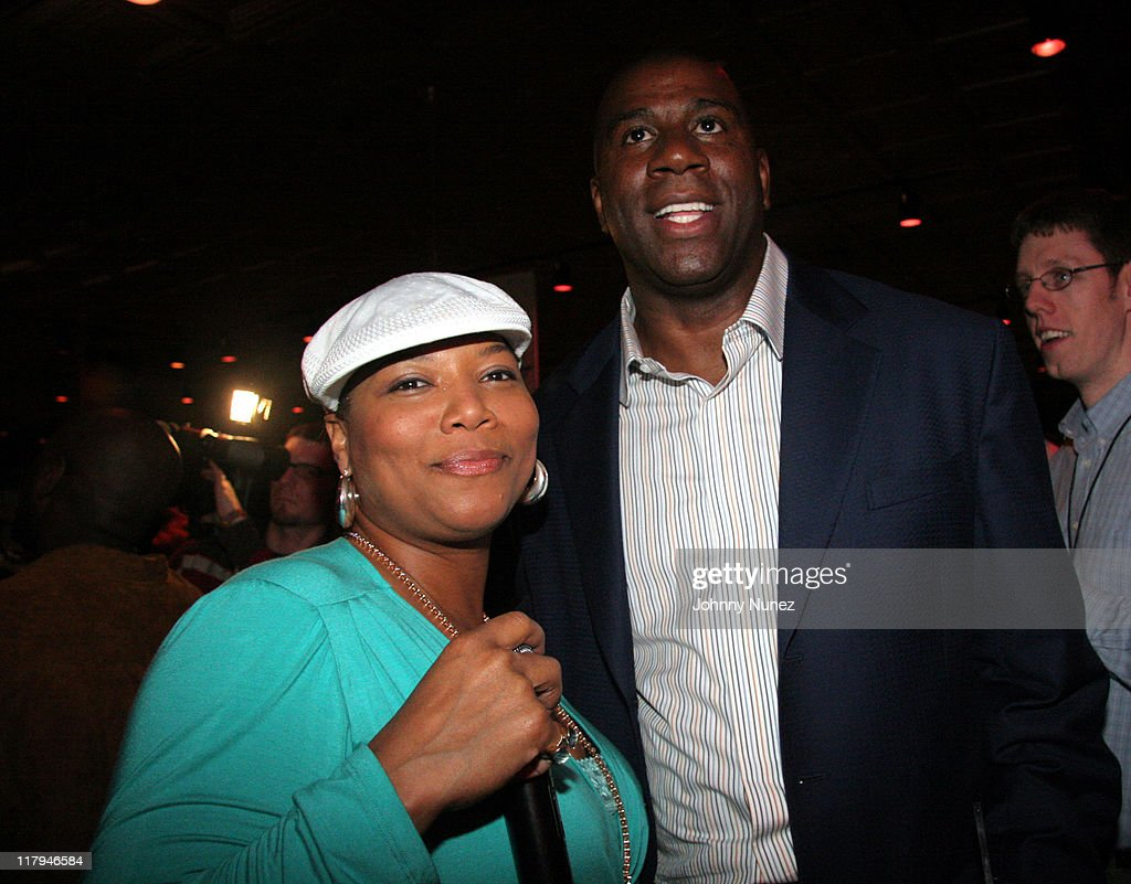 Queen Latifah and Earvin 'Magic' Johnson during Boost Mobile Presents ZO and Magic's 8 Ball Challenge Celebrity Pool Tournament at Jillian's of Houston in Houston, Texas, United States.