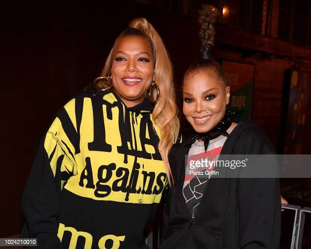 Queen Latifah and Janet Jackson pose backstage during Black Girls Rock 2018 at NJPAC on August 26 2018 in Newark New Jersey