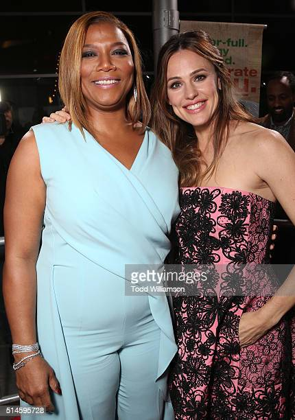 Queen Latifah and Jennifer Garner attend the premiere of Columbia Pictures' Miracles From Heaven at the ArcLight Hollywood on March 9 2016 in...
