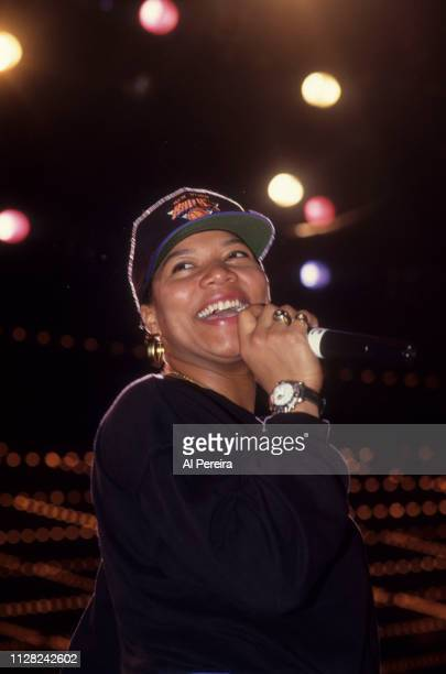 """Queen Latifah appears at the """"Stay In School"""" rally at the Theater at Madison Square Garden on March 31, 1993 in New York City."""