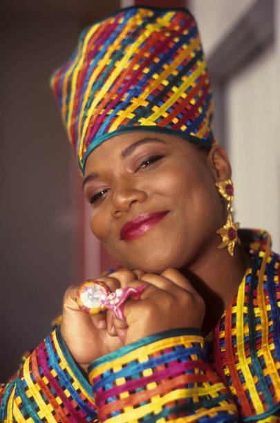 Queen Latifah appears in a portrait taken backstage during Queen Latifah's video shoot for 'Fly Girl' on June 28 1991 in New York City