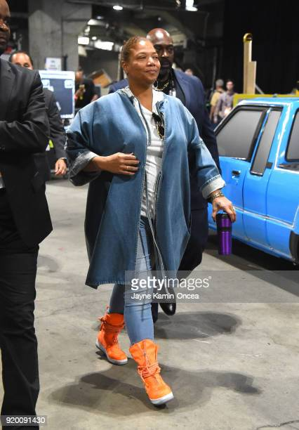 Queen Latifah arrives to the NBA AllStar Game 2018 at Staples Center on February 18 2018 in Los Angeles California