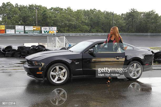 Queen Latifah attends the behind the scenes for Queen Latifah's new music video 'Fast Cars' guest starring the 2010 Ford Mustang at the Wall Township...