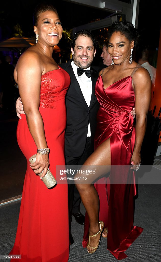 Queen Latifah, Brett Ratner and Serena Williams attend the 2015 Vanity Fair Oscar Party hosted by Graydon Carter at the Wallis Annenberg Center for the Performing Arts on February 22, 2015 in Beverly Hills, California.