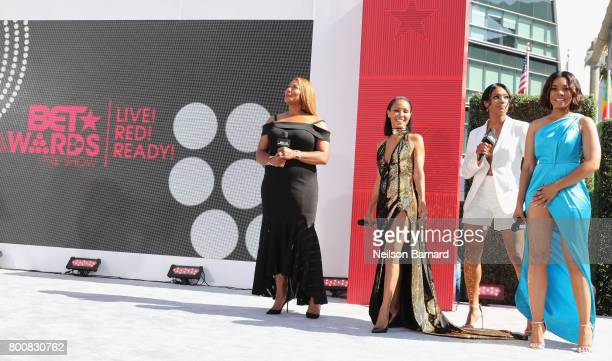 Queen Latifah Jada Pinkett Smith Tiffany Haddish and Regina Hall at Live Red Ready PreShow at the 2017 BET Awards at Microsoft Square on June 25 2017...