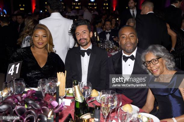 Queen Latifah Jahil Fisher Honoree Lee Daniels and Clara Watson attend the 2018 amfAR Gala New York at Cipriani Wall Street on February 7 2018 in New...