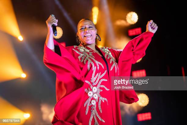 Queen Latifah performs during Queen Latifah's 'Ladies First' night at the 2018 Essence Festival at the MercedesBenz Superdome on July 7 2018 in New...