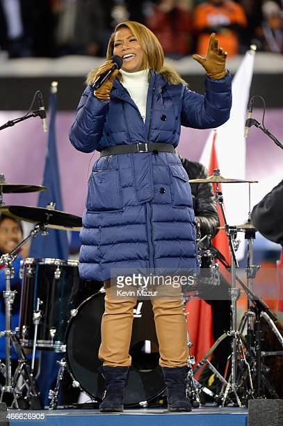 Queen Latifah performs during the Pepsi Super Bowl XLVIII Pregame Show at MetLife Stadium on February 2 2014 in East Rutherford New Jersey