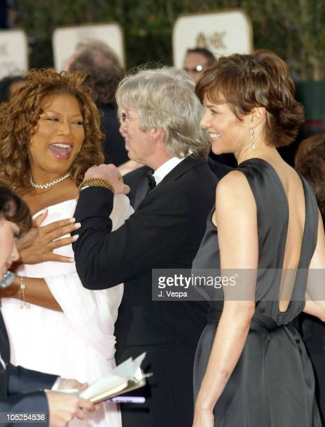 Queen Latifah Richard Gere and wife Carey Lowell during The 61st Annual Golden Globe Awards Arrivals at The Beverly Hilton in Beverly Hills...