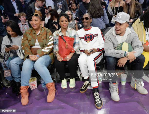 Queen Latifah Shante Broadus Snoop Dogg and Chance the Rapper attend the NBA AllStar Game 2018 at Staples Center on February 18 2018 in Los Angeles...