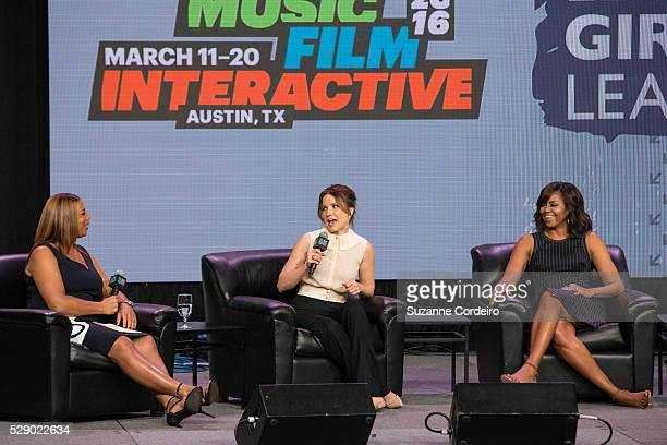 Queen Latifah Sophia Bush and First Lady Michelle Obama speak on stage during the SXSW Keynote Michelle Obama during 2016 SXSW Music Film Interactive...
