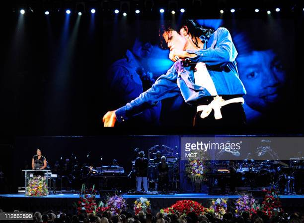 Queen Latifah speaks during the memorial service for Michael Jackson at the Staples Center in Los Angeles California Tuesday July 7 2009