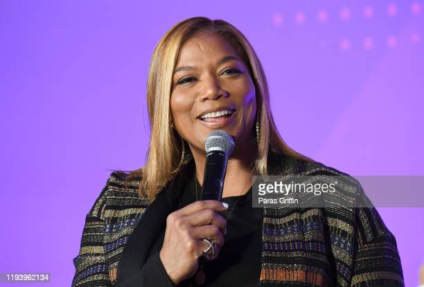 Queen Latifah speaks onstage during ESSENCE + New Voices Entrepreneur Summit And Target Holiday Market at West End Production Park on December 14,...