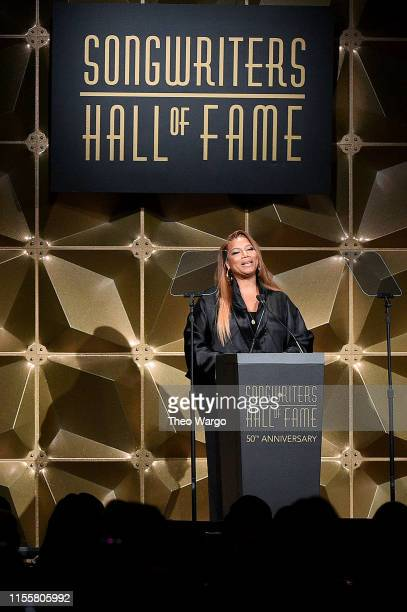 Queen Latifah speaks onstage during the Songwriters Hall Of Fame 50th Annual Induction And Awards Dinner at The New York Marriott Marquis on June 13...