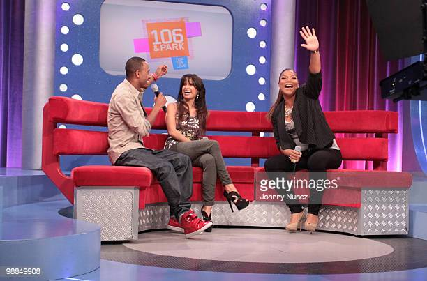 Queen Latifah visits BET's 106 Park with hosts Rocsi and Terrence J at BET Studios on May 3 2010 in New York City