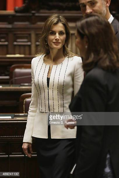 Queen Letitia of Spain arrives for a meeting with the President of the Chamber of Deputies Laura Boldrini at Palazzo Montecitorio during the Spanish...