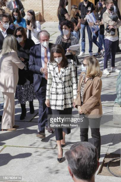 Queen Letizia , accompanied by the Third Vice-President of the Spanish Government, Nadia Calviño , arrives at the presentation and announcement of...