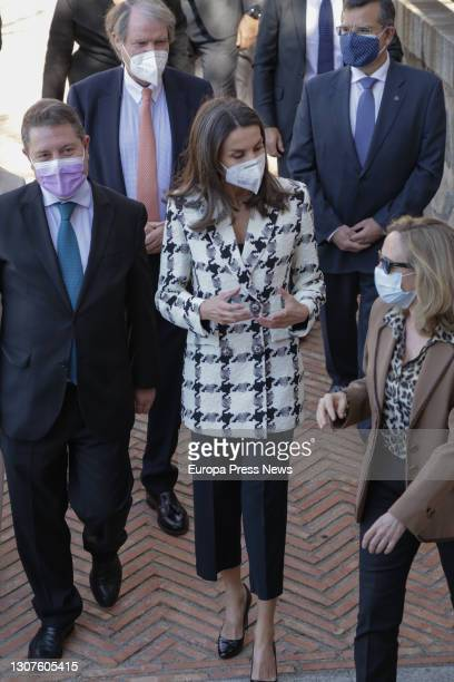 Queen Letizia , accompanied by the Third Vice-President of the Spanish Government, Nadia Calviño ;the President of Castilla-La Mancha, Emiliano...