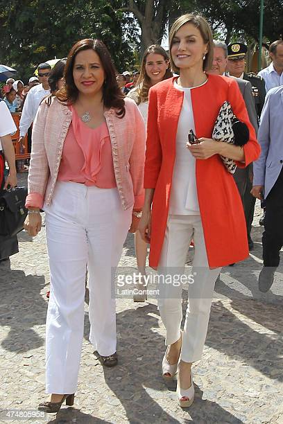 Queen Letizia and Ana Garcia de Hernandez Honduras' First Lady walk through Comayagua 80 km north of Tegucigalpa during an official visit on May 26...