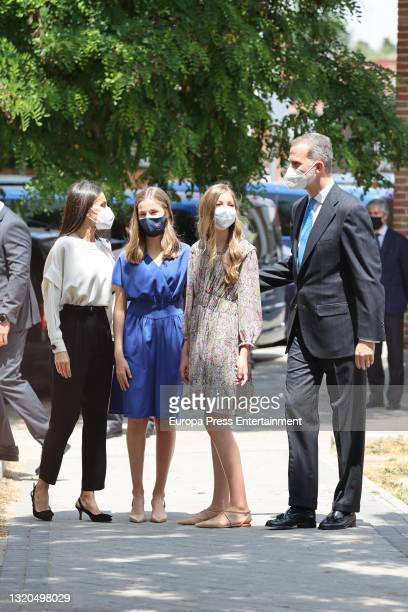 Queen Letizia and King Felipe leave the parish of the Assumption of Our Lady with their daughters, Princess Leonor and Infanta Sofia, on May 28 in...