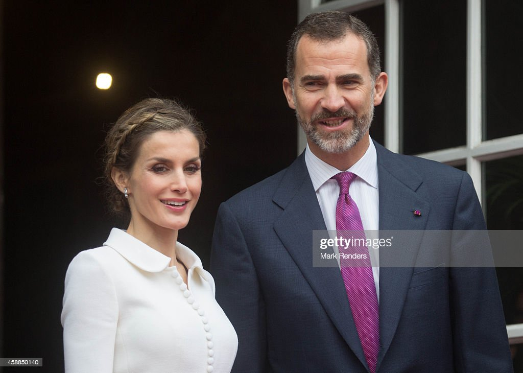 Queen Letizia and King Felipe of Spain during a Spanish State visit at the Egmond Palace on November 12, 2014 in Brussel, Belgium.