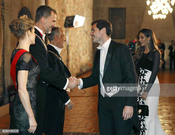 Queen Letizia and King Felipe of Spain greet Iker Casillas at a Gala Dinner at the Dukes of Braganza Palace during the Spanish Royals official visit...