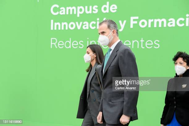 Queen Letizia and King Felipe VI attend the inauguration of Ibedrola's Innovation and Formation center on April 09, 2021 in San Agustin de Guadalix,...