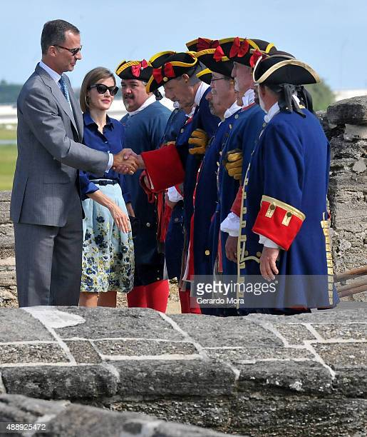 Queen Letizia and King Felipe VI of Spain visit Castillo San Marcos during the 450th Saint Agustine anniversary on September 18 2015 in St Augustine...