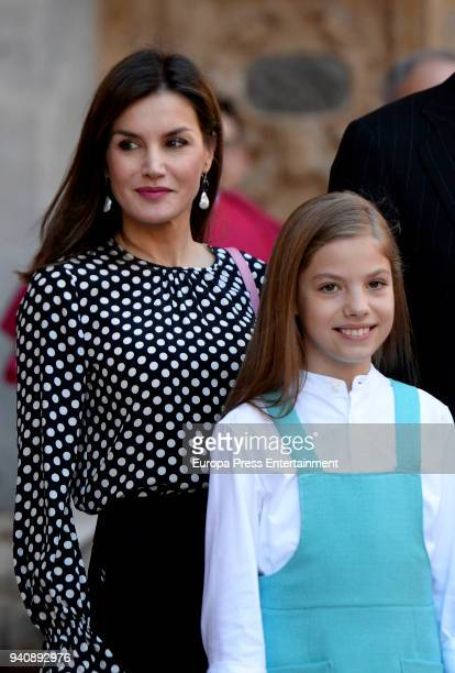 Queen Letizia and Princess Sofia of Spain attend the Easter mass on April 1 2018 in Palma de Mallorca Spain