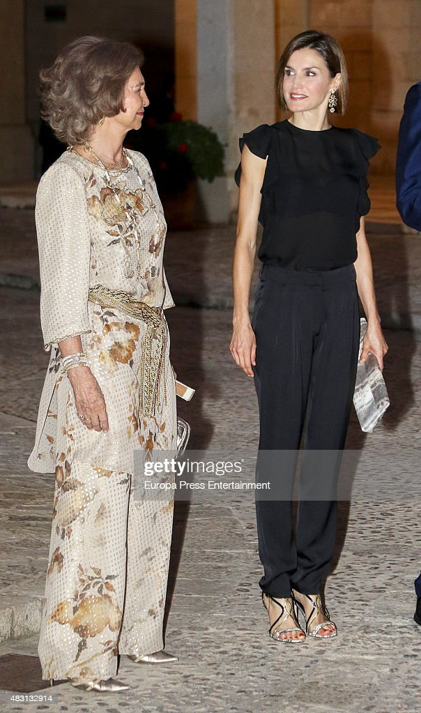 Queen Letizia (R) and Queen Sofia (L) attends a official reception at the Almudaina Palace on August 5, 2015 in Palma de Mallorca, Spain.