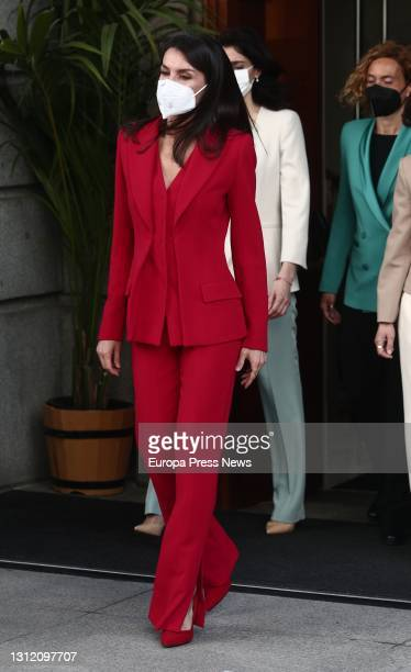 Queen Letizia in the Patio de Floridablanca as she leaves the congressional tribute to the Radical Party deputy Clara Campoamor, on April 12 in...