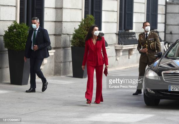 Queen Letizia in the Patio de Floridablanca on her arrival at the congressional tribute to the Radical Party deputy Clara Campoamor, on April 12 in...