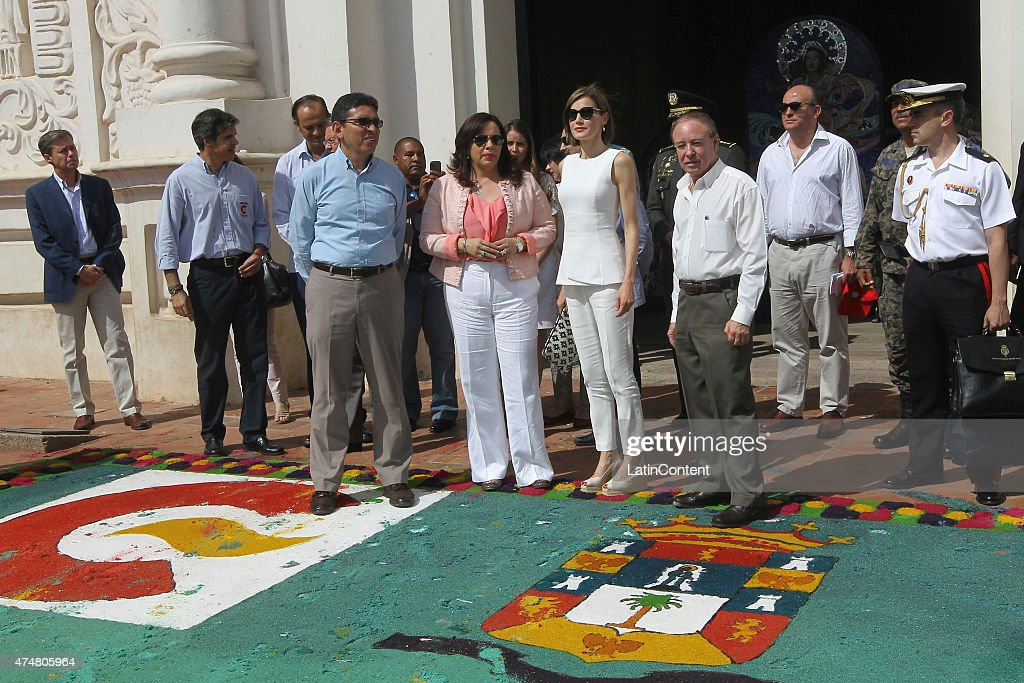 Queen Letizia is accompanied by Honduran authorities, during a visit cathedral of Comayagua, 80 km north of Tegucigalpa during an official visit on May 26, 2015 in Honduras. Queen Letizia started a two-day visit to Honduras to supervise Spanish cooperation programs in the country.