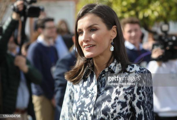 Queen Letizia is seen duirng her visit to are Ecija on February 06, 2020 in Sevilla, Spain.