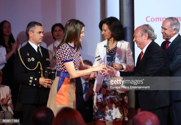 Queen Letizia of Spain and Ana Patricia Botin attends 10th 'Proyectos Sociales Banco de Santander' awards at Las Alhajas Palace on May 7 2018 in...