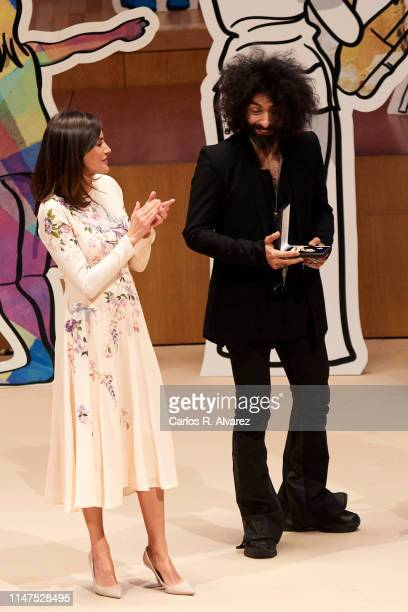 Queen Letizia of Spain and Ara Malikian attend the commemorative act of the World Red Cross Day on May 07 2019 in Zaragoza Spain
