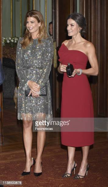 Queen Letizia of Spain and Argentina's First Lady Juliana Awada attend a reception hosted by Spanish Royals at the Four Seasons Hotel during day two...
