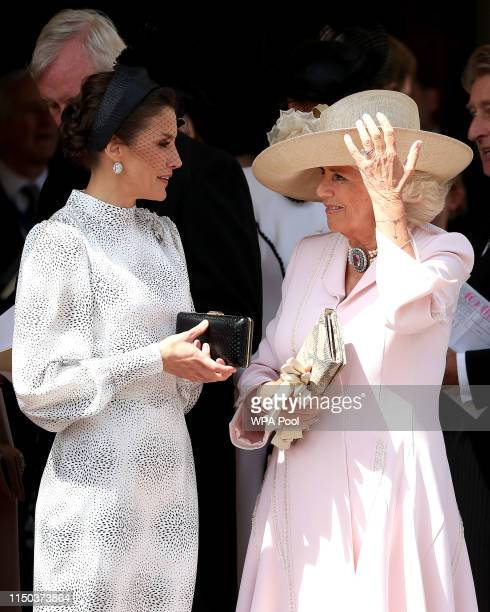 Queen Letizia of Spain and Camilla Duchess of Cornwall at the Order of the Garter Service at St George's Chapel in Windsor Castle on June 17 2019 in...