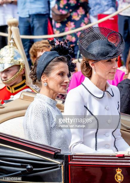 Queen Letizia of Spain and Catherine Duchess of Cambridge at St George's Chapel on June 17 2019 in Windsor England