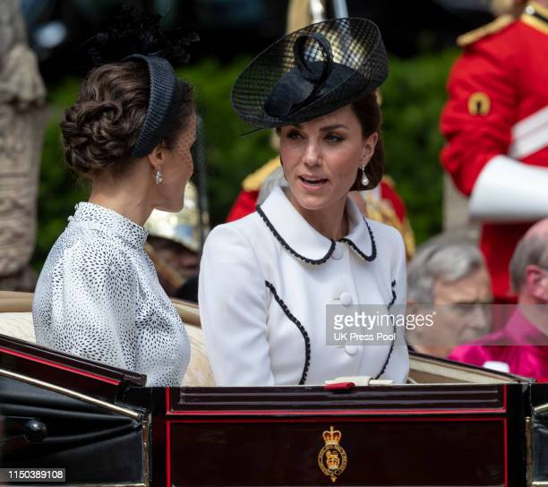 Queen Letizia of Spain and Catherine Duchess of Cambridge attend the Order of the Garter Service at St George's Chapel on June 17 2019 in Windsor...