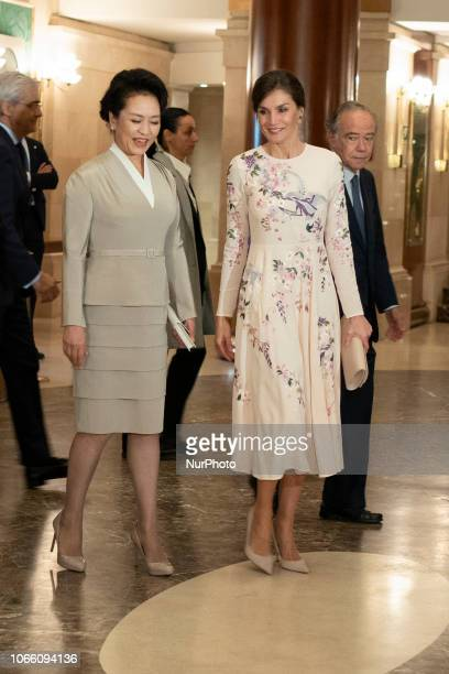 Queen Letizia of Spain and China first lady Peng Liyuan visit the Royal Theatre on November 28 2018 in Madrid Spain