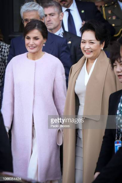 Queen Letizia of Spain and China's first lady Peng Liyuan visit the Royal Theatre on November 28 2018 in Madrid Spain