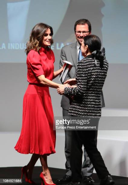 Queen Letizia of Spain and Cuca Solana attend the National Fashion Award 2018 at Museo del Traje on December 19 2018 in Madrid Spain