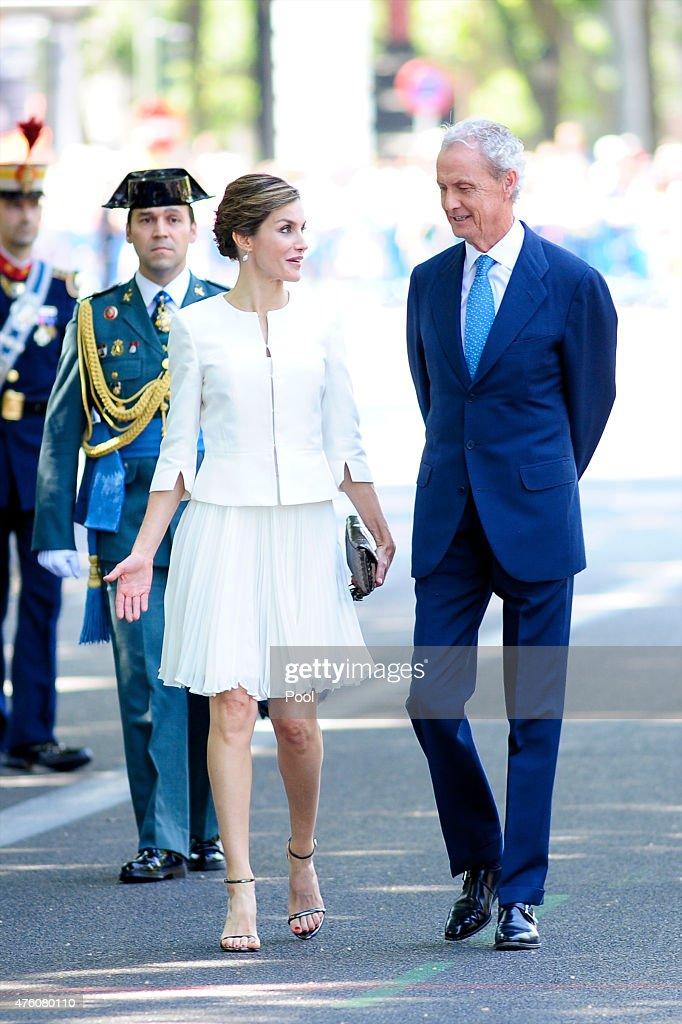 Queen Letizia of Spain (L) and Defense Minister Pedro Morenes attend the 2015 Armed Forces Day at Plaza de la Lealtad on June 6, 2015 in Madrid, Spain.