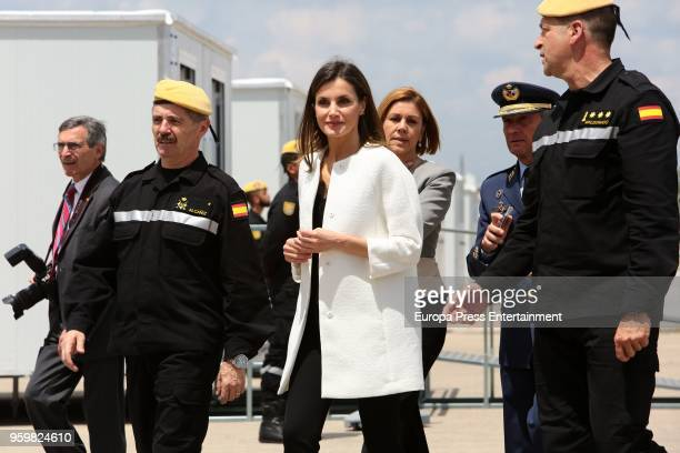 Queen Letizia of Spain and Dolores de Cospedal attend Military Emergency Unit headquarters on May 18 2018 in Torrejon De Ardoz Spain