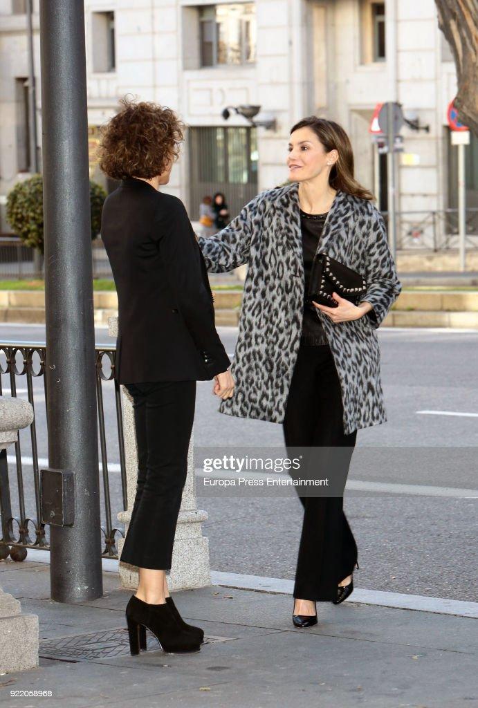 Queen Letizia of Spain (R) and Dolors Montserrat attend Gender-Based Violence meeting at Delegacion del Gobierno para la Violencia de Genero headquarters on February 21, 2018 in Madrid, Spain.