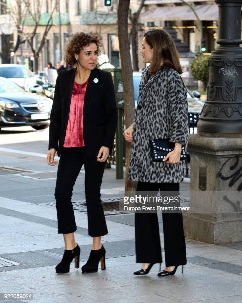 Queen Letizia of Spain and Dolors Montserrat attend GenderBased Violence meeting at Delegacion del Gobierno para la Violencia de Genero headquarters...