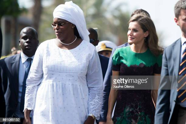 Queen Letizia of Spain and First Lady of Senegal Mariem Faye Sall look on prior to an official lunch with Senegalese First Lady Marieme Faye Sall on...