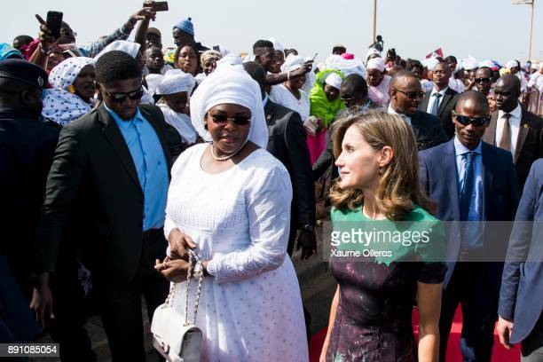 Queen Letizia of Spain and First Lady of Senegal Mariem Faye Sall speak prior to an official lunch on December 12 2017 in Dakar Senegal Queen Letizia...
