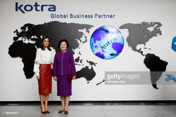 Queen Letizia of Spain and First Lady of the Republic of Korea Kim Jungsook pose at KOTRA the Korea TradeInvestment Promotion Agency for a meeting...